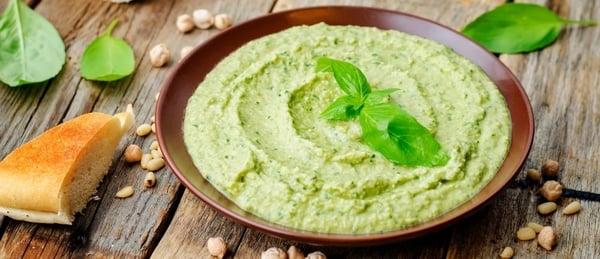 Refreshing Homemade Basil Hummus