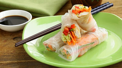 VFresh Spring Rolls with Ginger-Almond Sauce