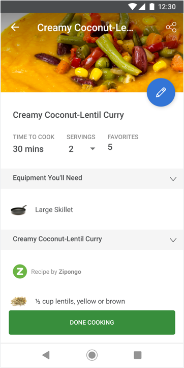 Recipe screenshot