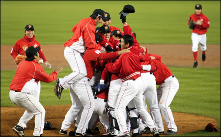 My personal favorite team, the SK Wyverns, celebrating their 2010 championship.