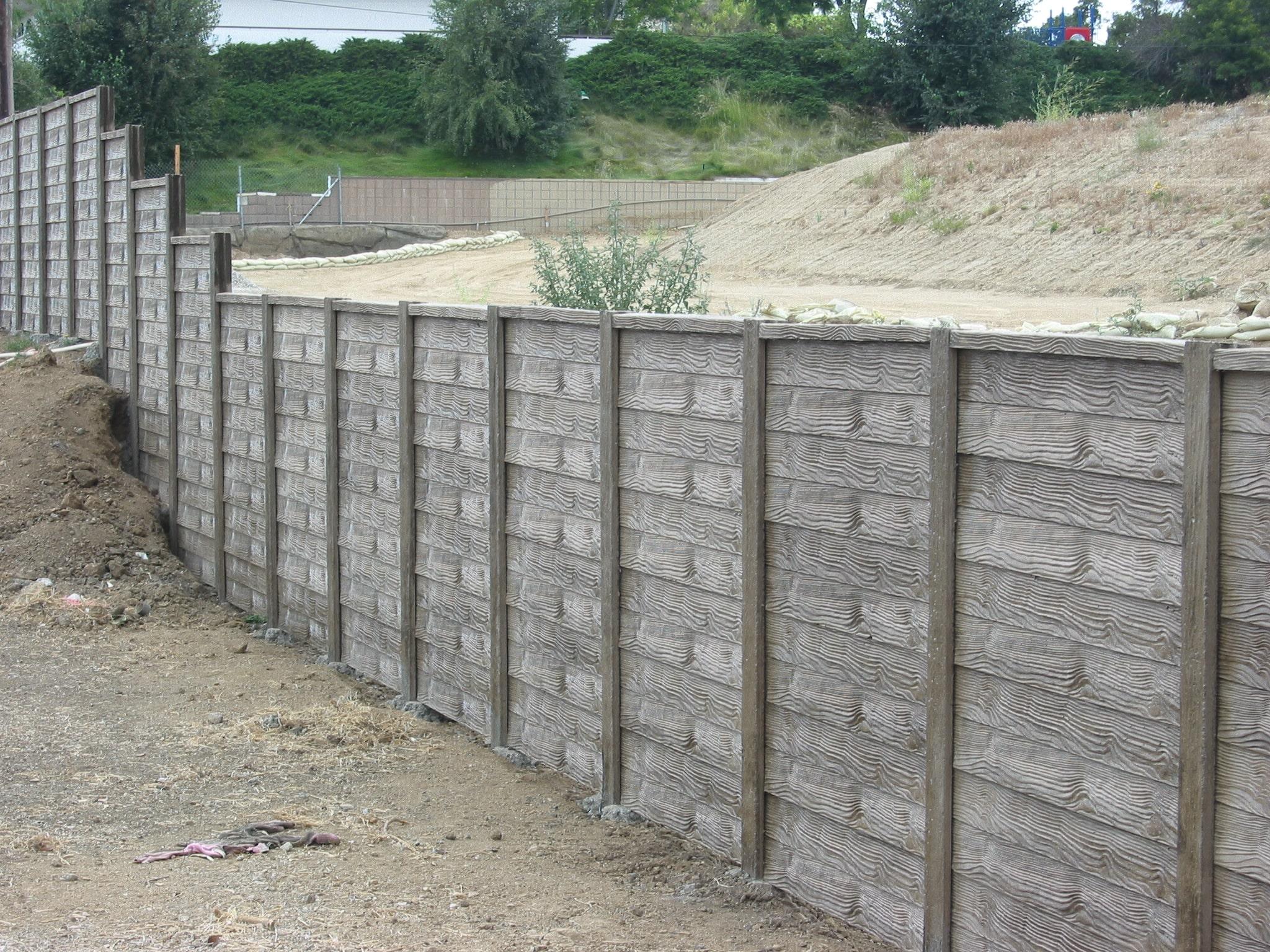 wooden concrete fence