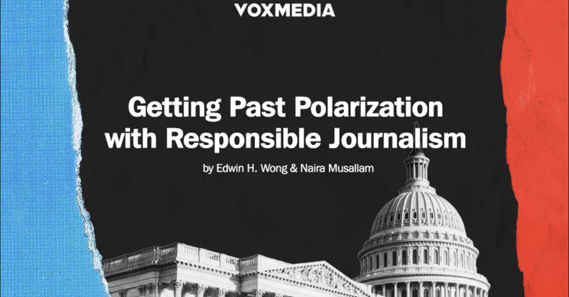 """Blog title, """"Getting Past Polarization with Responsible Journalism"""" overlaid onto an image of the US capital."""
