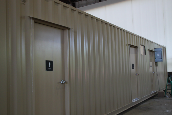 dropbox inc, containerized restroom trailer, restroom trailer, portable restroom trailer, sanitation station
