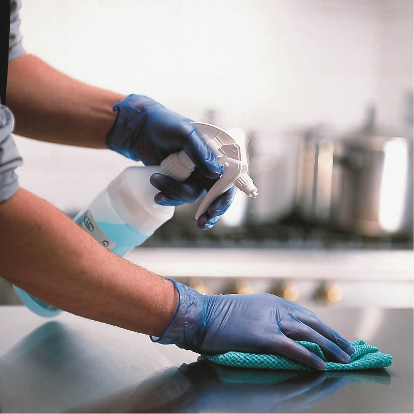 Cleaning fluid and gloves-min