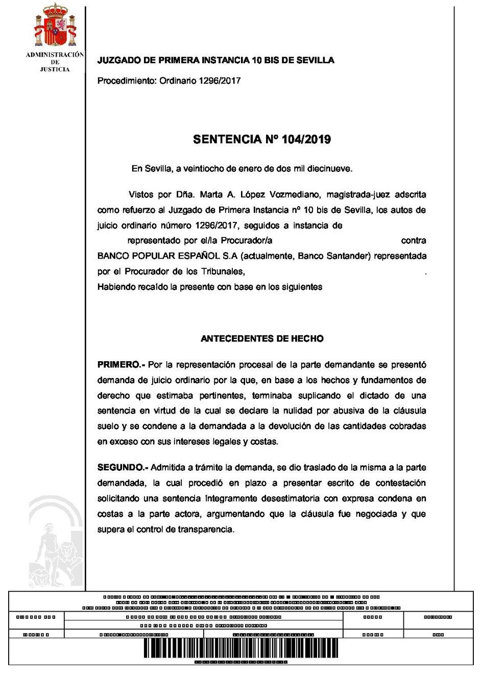 Anulada cláusula suelo del Popular en Sevilla
