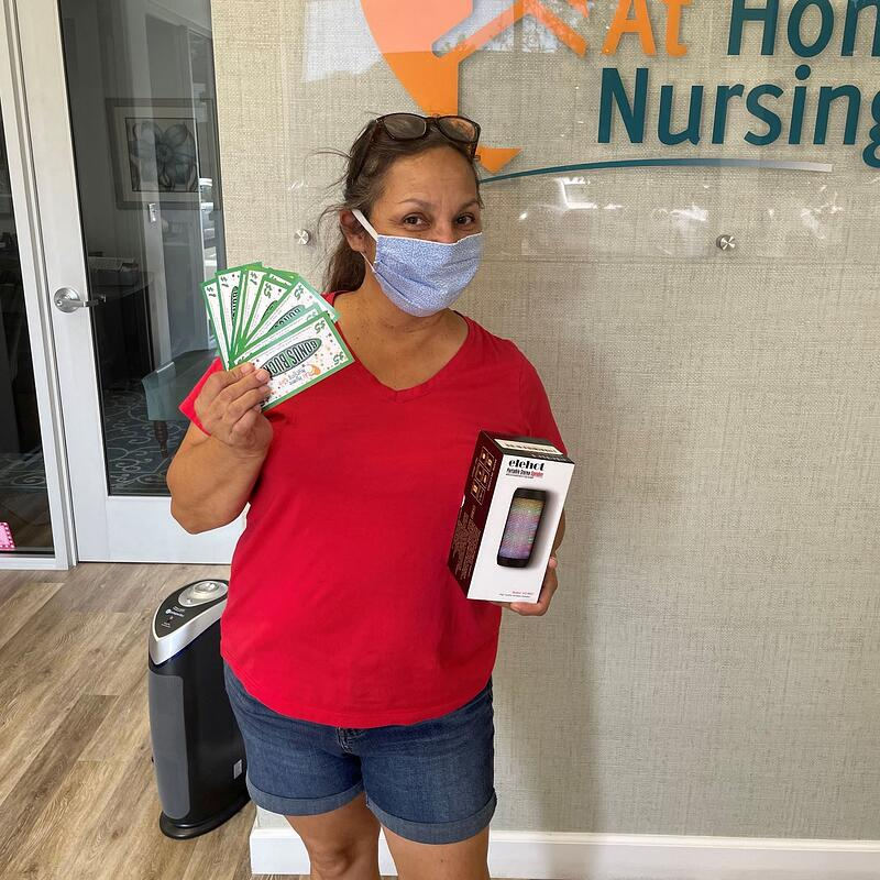 Homecare Employee Cashes In Bonus Bucks