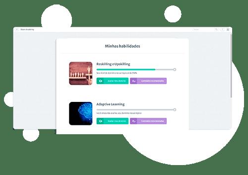 Tela inicial do Adaptive Learning no Skore, com círculos brancos flutuando ao fundo. O título da imagem diz Minhas Habilidades e as habilidades listadas abaixo são: Reskilling e Upskilling e Adaptive Learning