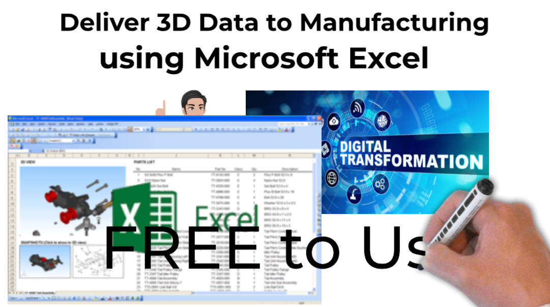 Insert interactive 3D CAD into Microsoft Excel spreadsheets