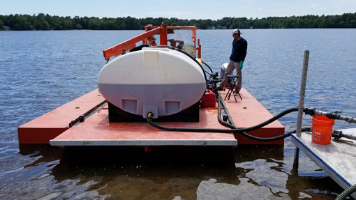 Preparing Alum Barge for Nutrient Remediation Treatment