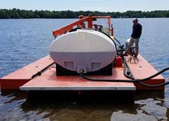 Preparing Alum Barge for Application