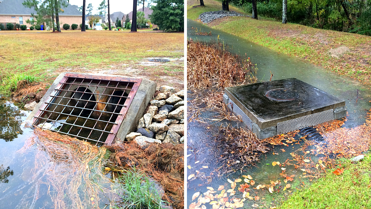 clogged stormwater pond outlets - stormwater pond maintenance and permitting