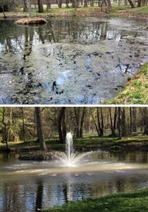 before and after a fountain - lake aeration