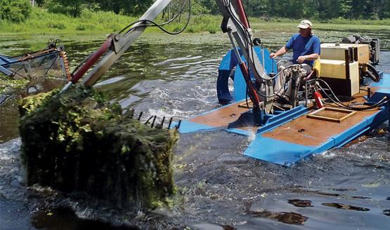 Hydro-Rake Removing Aquatic Weeds