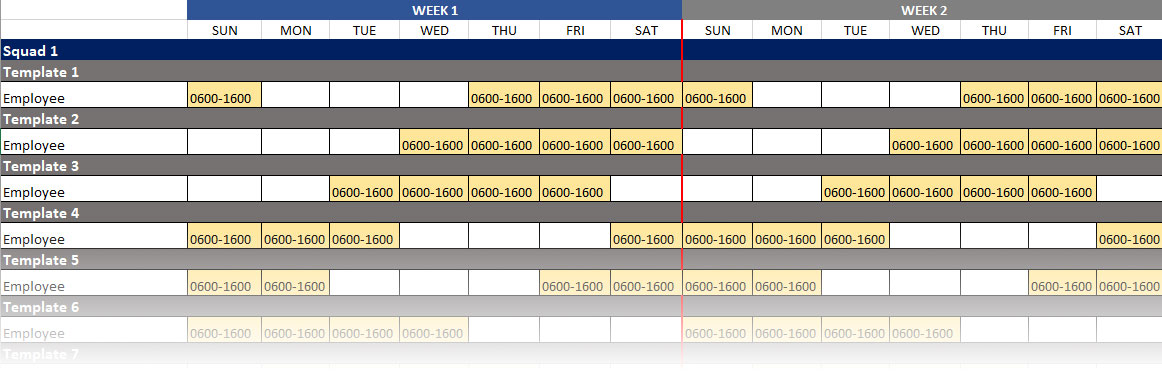 10-hour shift schedule template example