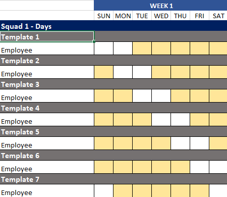A schedule example shown in Excel of the 5 on 2 off.