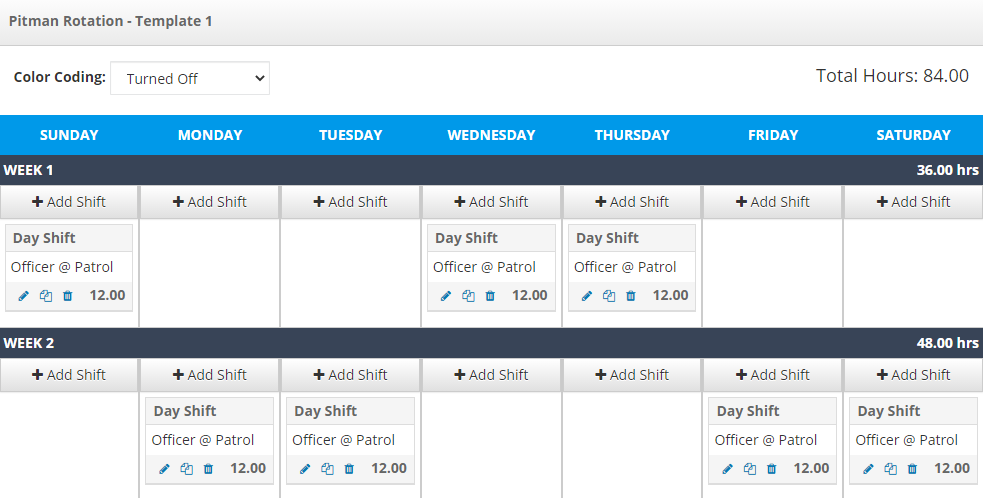 An example of the Pitman template in PlanIt Scheduling software.