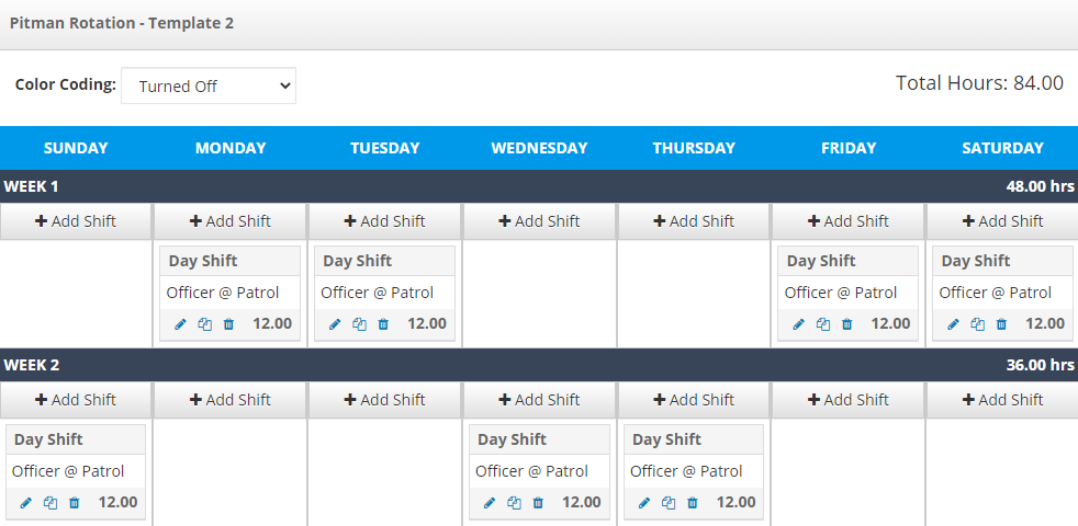 A second example of the Pitman template in PlanIt Scheduling software.