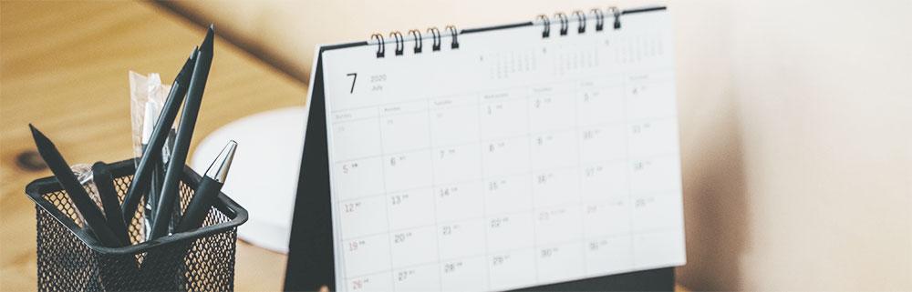 Desk calendar and pens