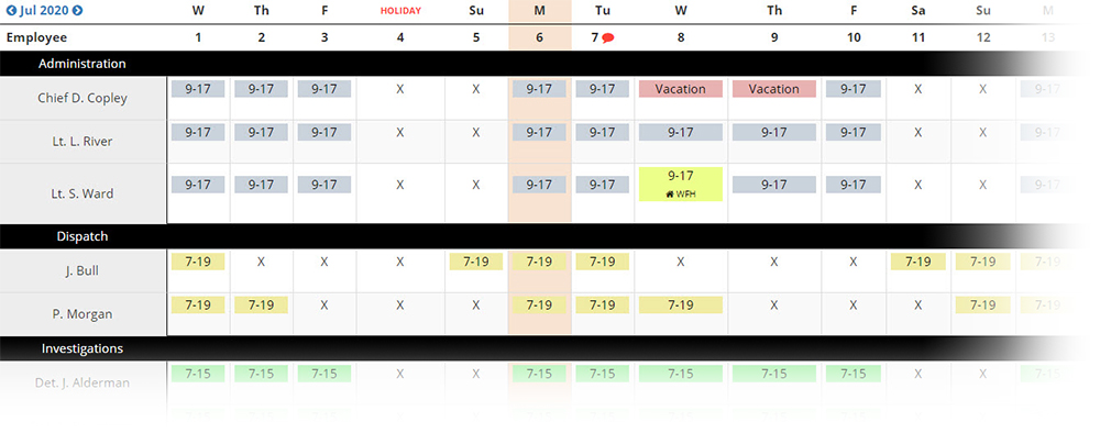 Example of the Platoon View in PlanIt Schedule that looks similar to a spreadsheet.