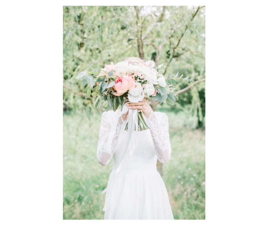 boho bride in a wedding dress by The Event Cottage