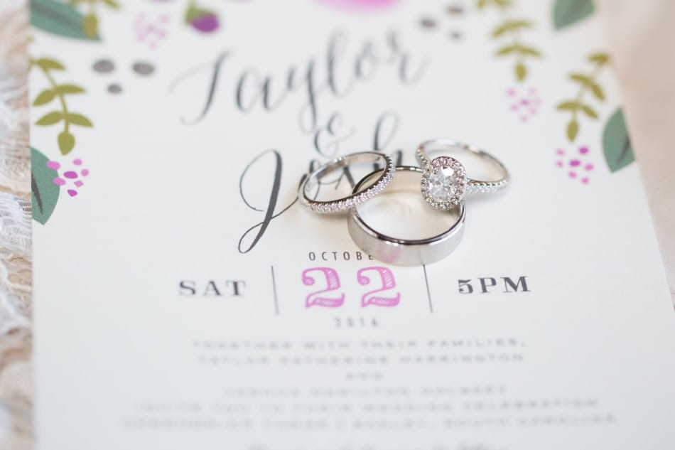 Wedding rings and invitations to photograph