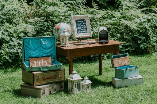 Outdoor furniture and signage at an event
