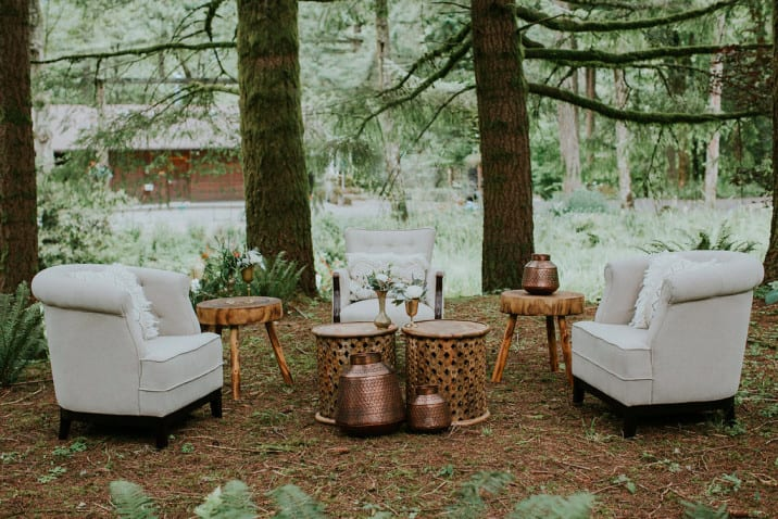 outdoor event with vintage furniture