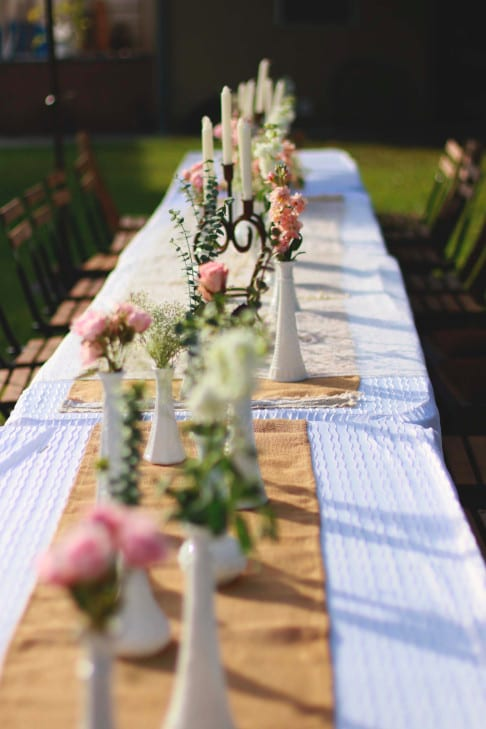 Beautiful outdoor wedding table and linens setup