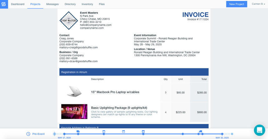 Screenshot of Goodshuffle Pro invoice.