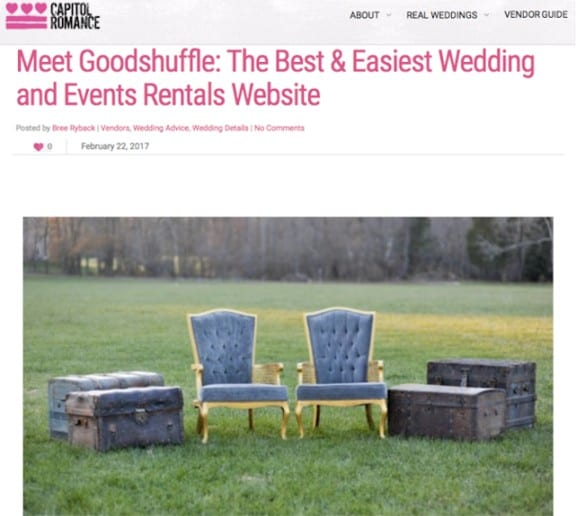 Capitol Romance features Goodshuffle for event companies