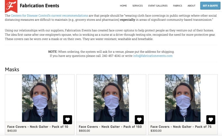 Screenshot of event company Fabrication Events webpage for selling masks for COVID-19