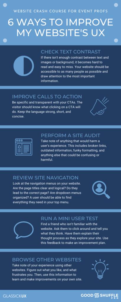 6 ways to improve my website's UX infographic