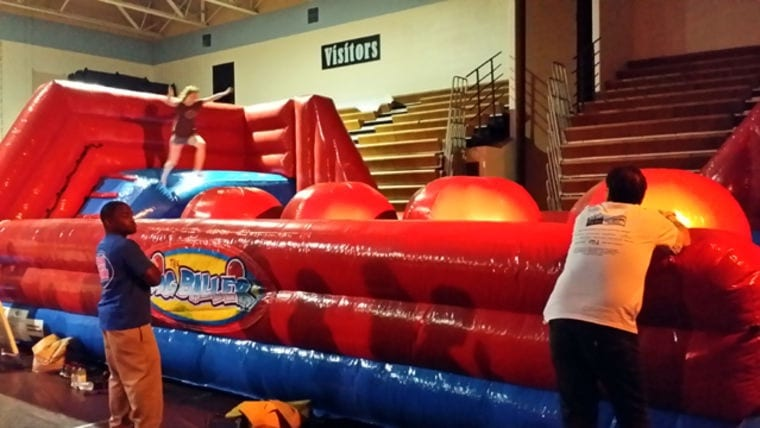 big inflatable relay race for an indoor event