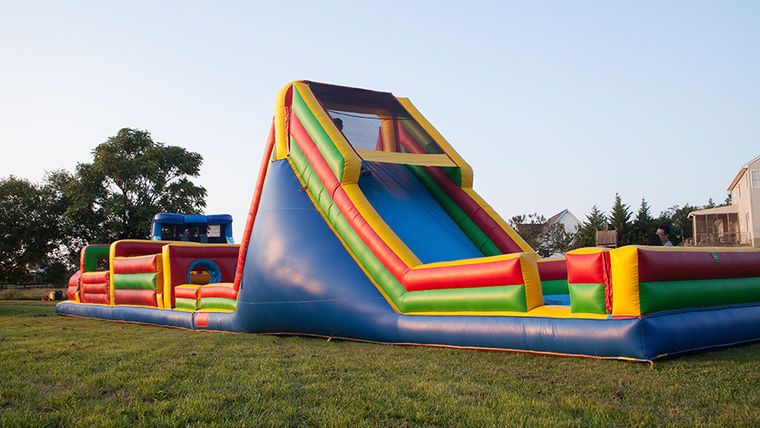 inflatable obstacle course pre-teen party