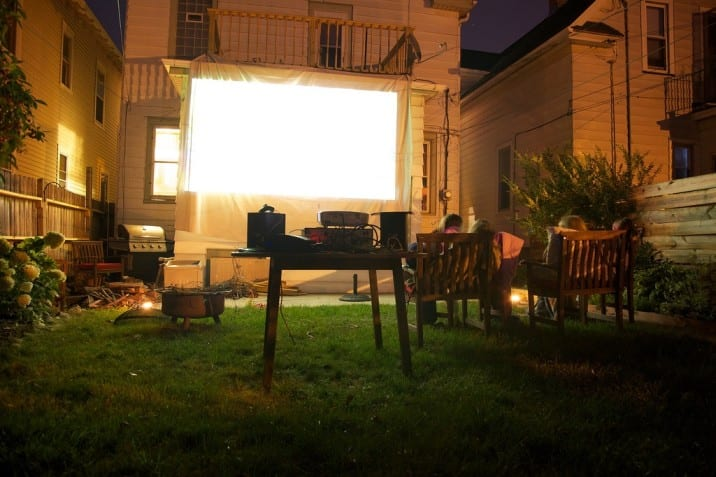 Outdoor projector for a DIY drive-in movie. Perfect for kids