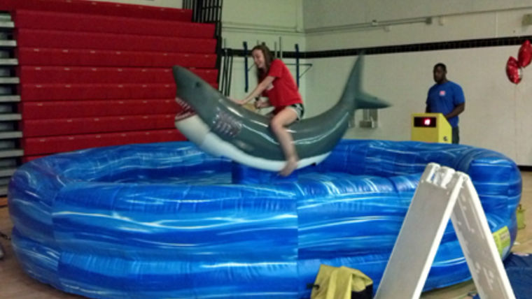 mechanical shark inflatable pre-teen party