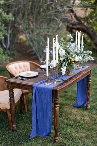Vintage event rentals, a sweetheart, table, for outdoor wedding