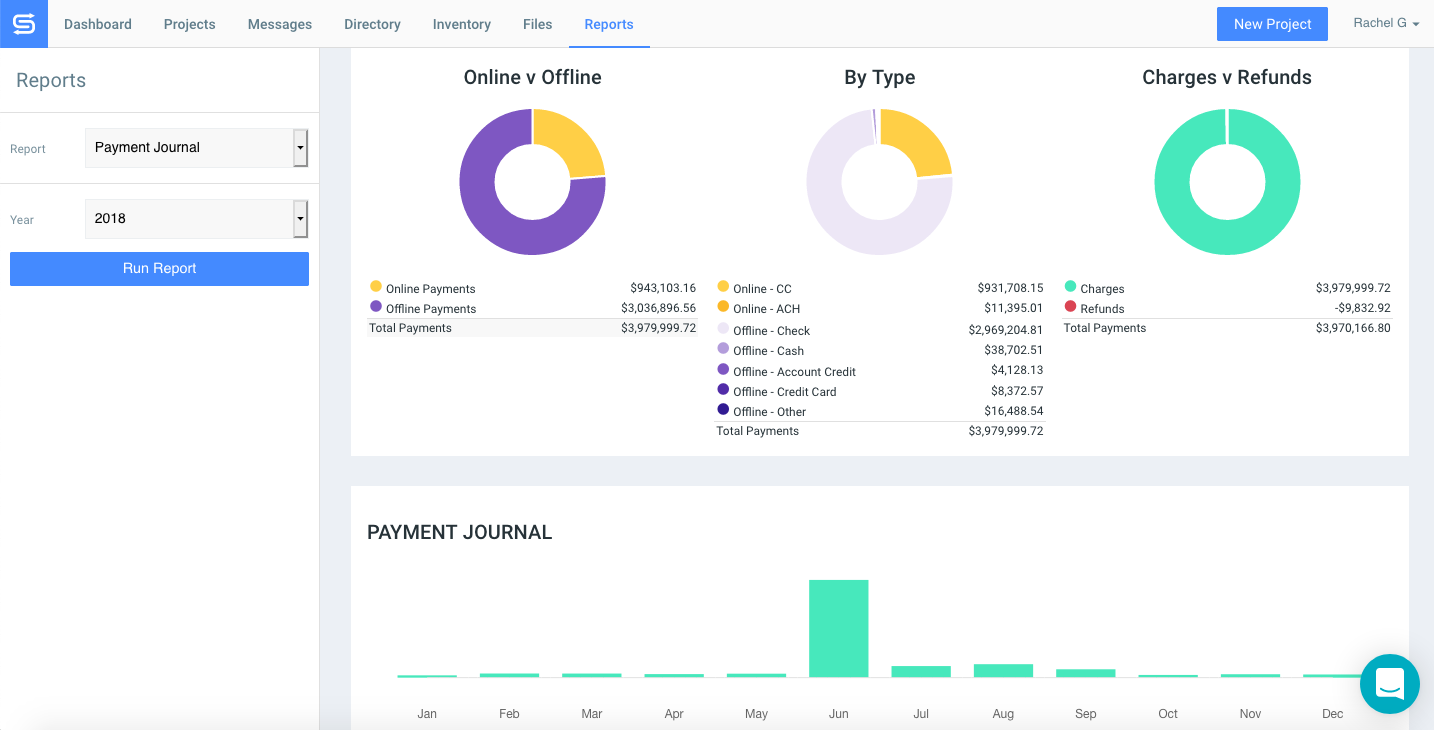 Goodshuffle Pro screenshot of payment journal that shows all transactions and payments from the prior year.