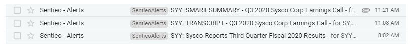 0520 Earnings Week Sysco Email