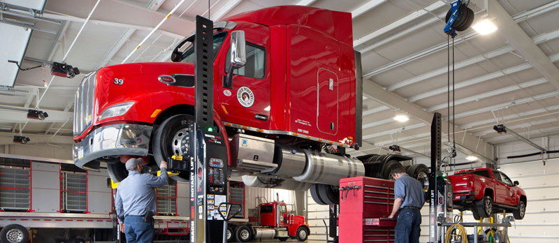 Semi cab on Rotary's mobile column lifts