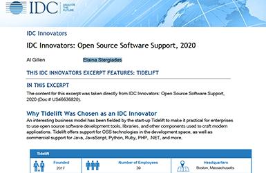 Tidelift named IDC Innovator 2020