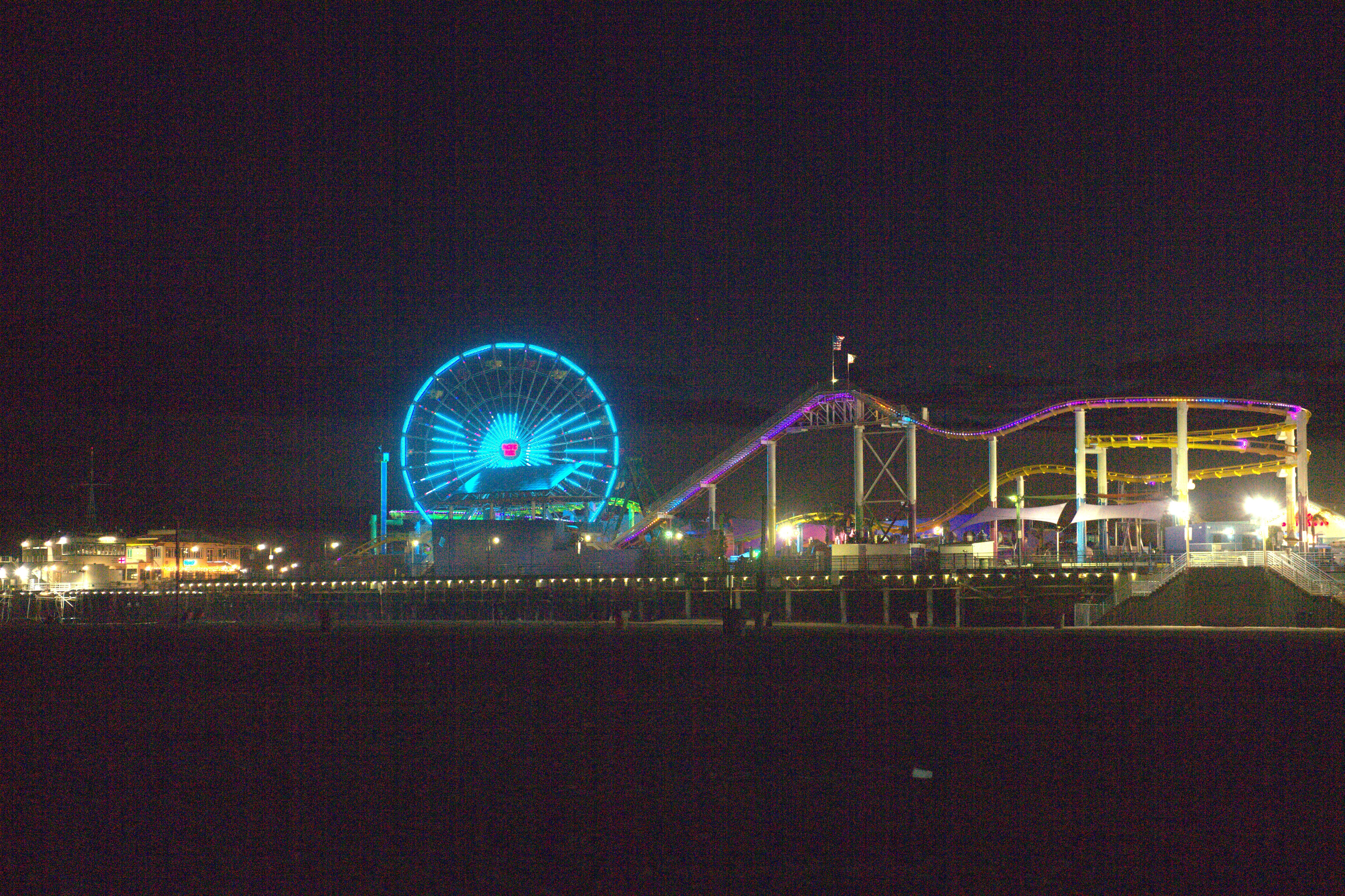 The ferris wheel on the Santa Monica Pier was lit up in MG's signature teal.