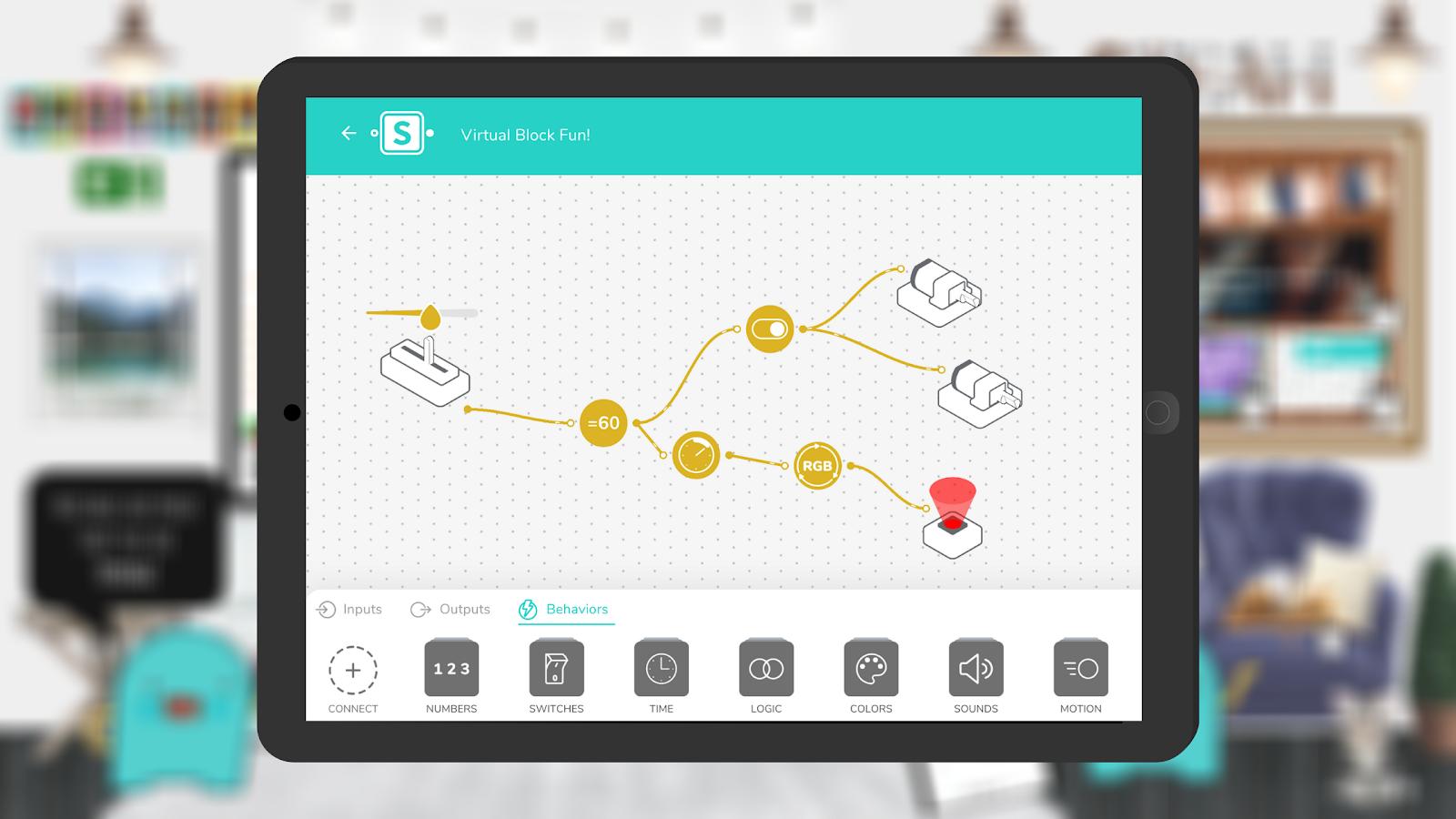 The virtual blocks for coding activities in SAM Blockly on the SAM Studio web platform.
