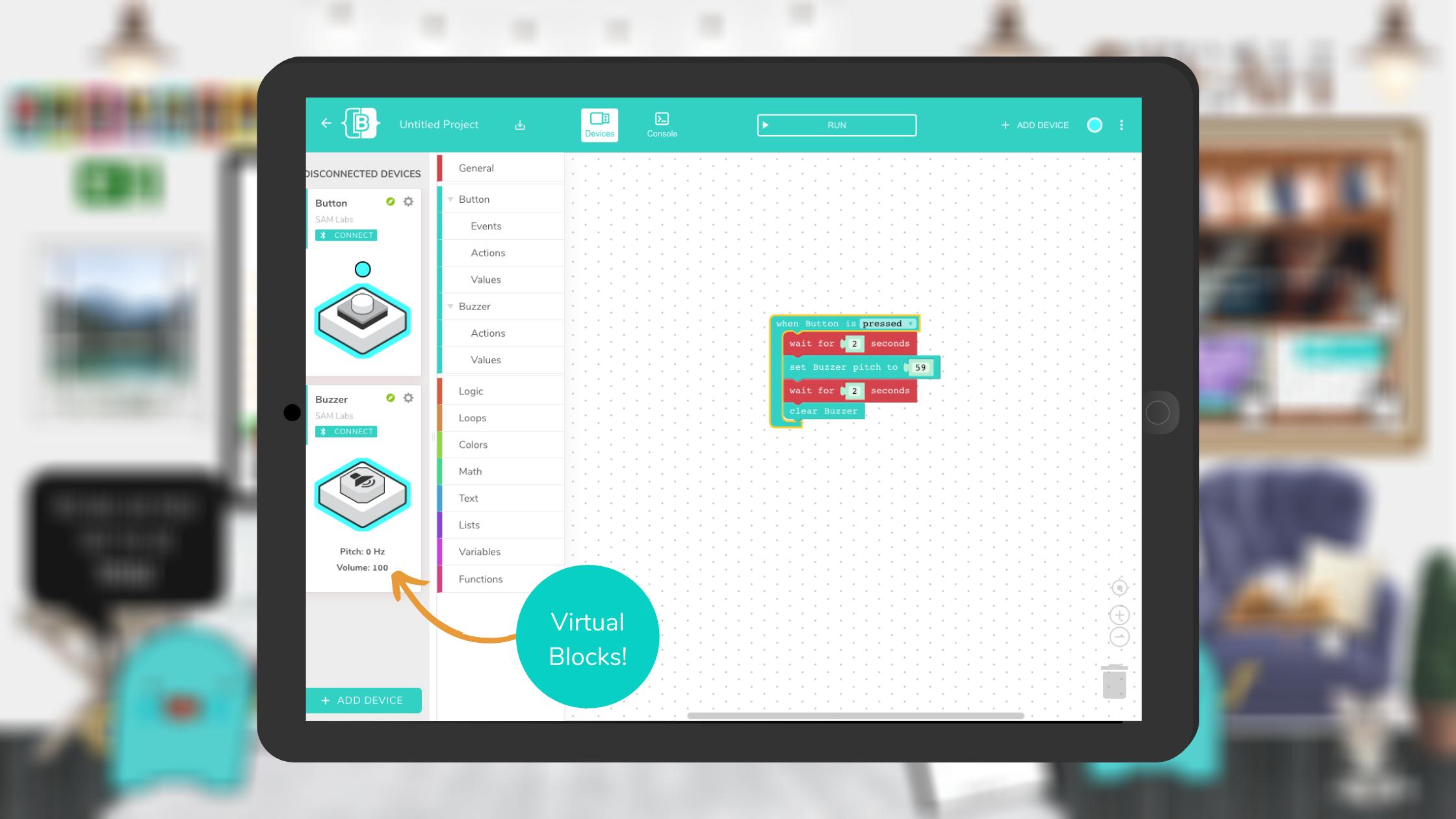 Virtual Block capabilities in SAM Blockly within SAM Studio's coding platform.