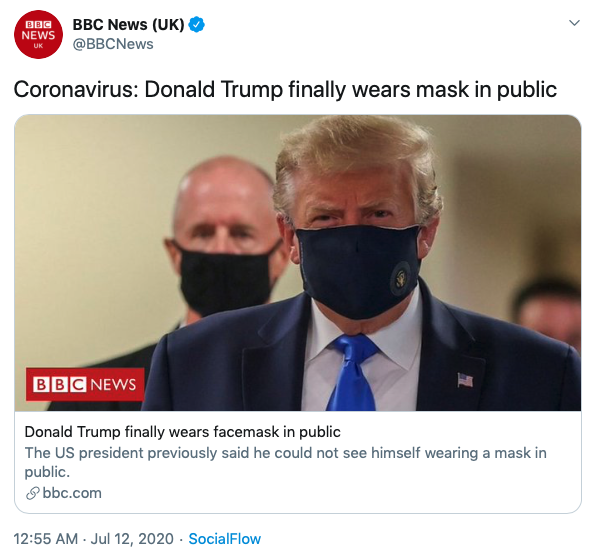 Tweet from BBC about Donald Trump wearing a face mask for the first time