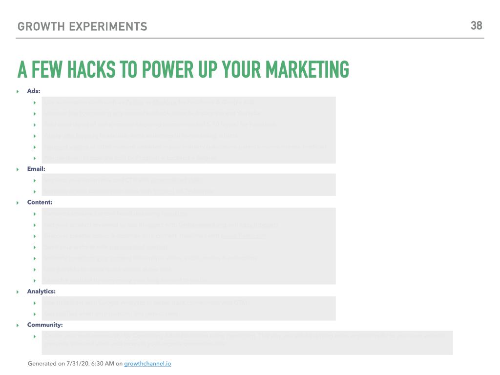 growth hacks list