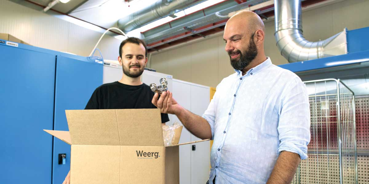 Delivery and receipt of a Weerg component