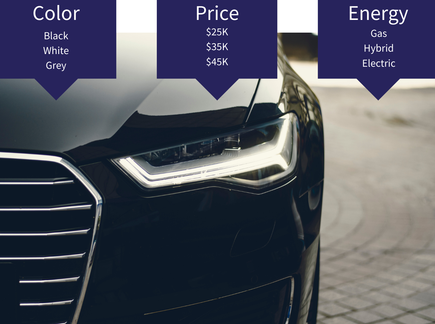 """Sample of conjoint analysis data. Image of a car with """"color"""", """"price"""", and """"Energy"""" overlaid with their corresponding levels"""