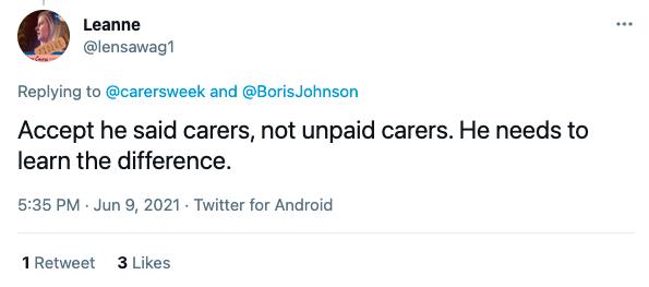 Carers Week Unpaid Carers Reaction